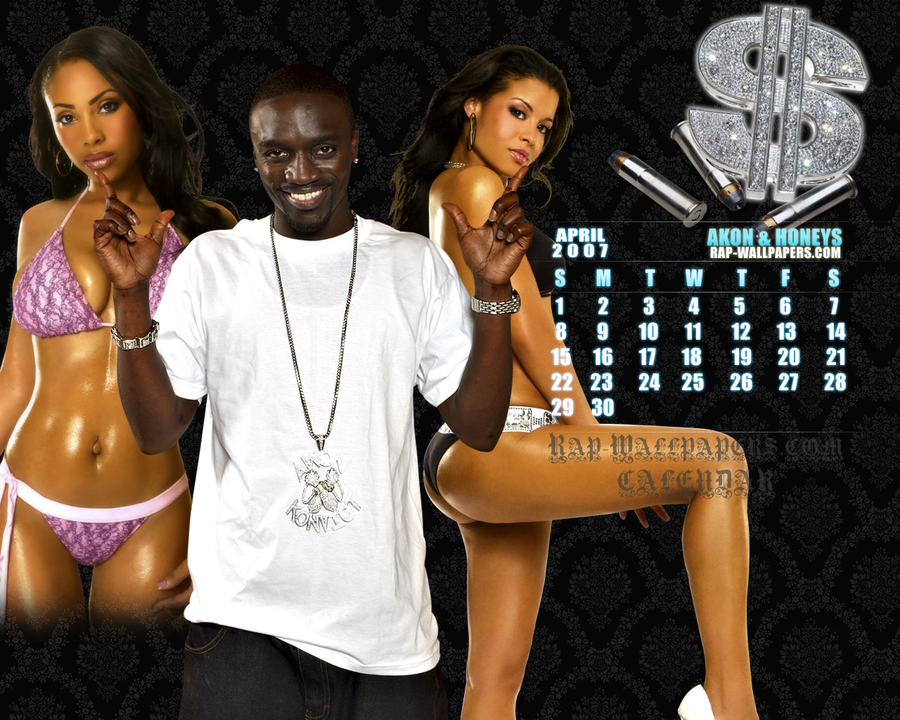 click on the wallpaper and choose 'Save Picture As' April 07 - Akon